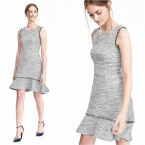 BANANA REPUBLIC Tweed Boucle Flounce Sheath Dress